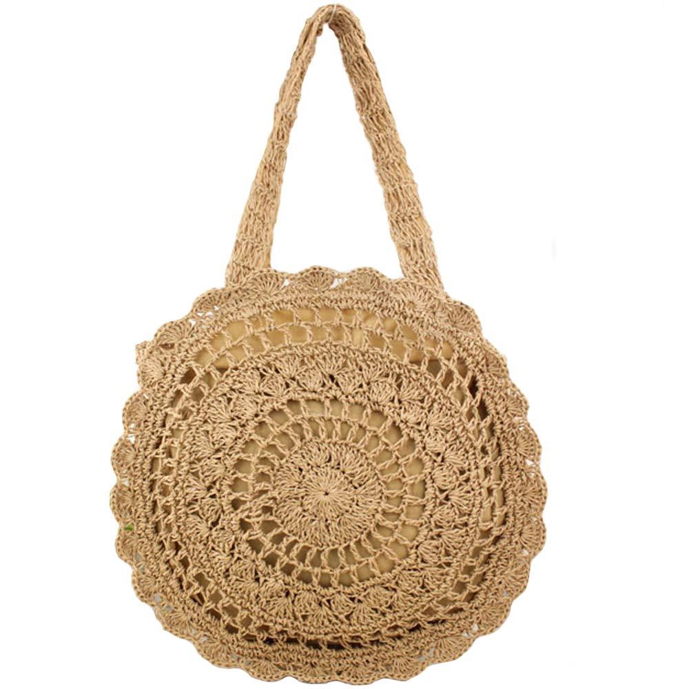 FiveloveTwo Womens Ladies Lightweight Handmade Handbag Large Crochet Shoulder Summer Bag Straw Beach Shopper Clutch Top Handle Tote Bags and Purse Light Brown