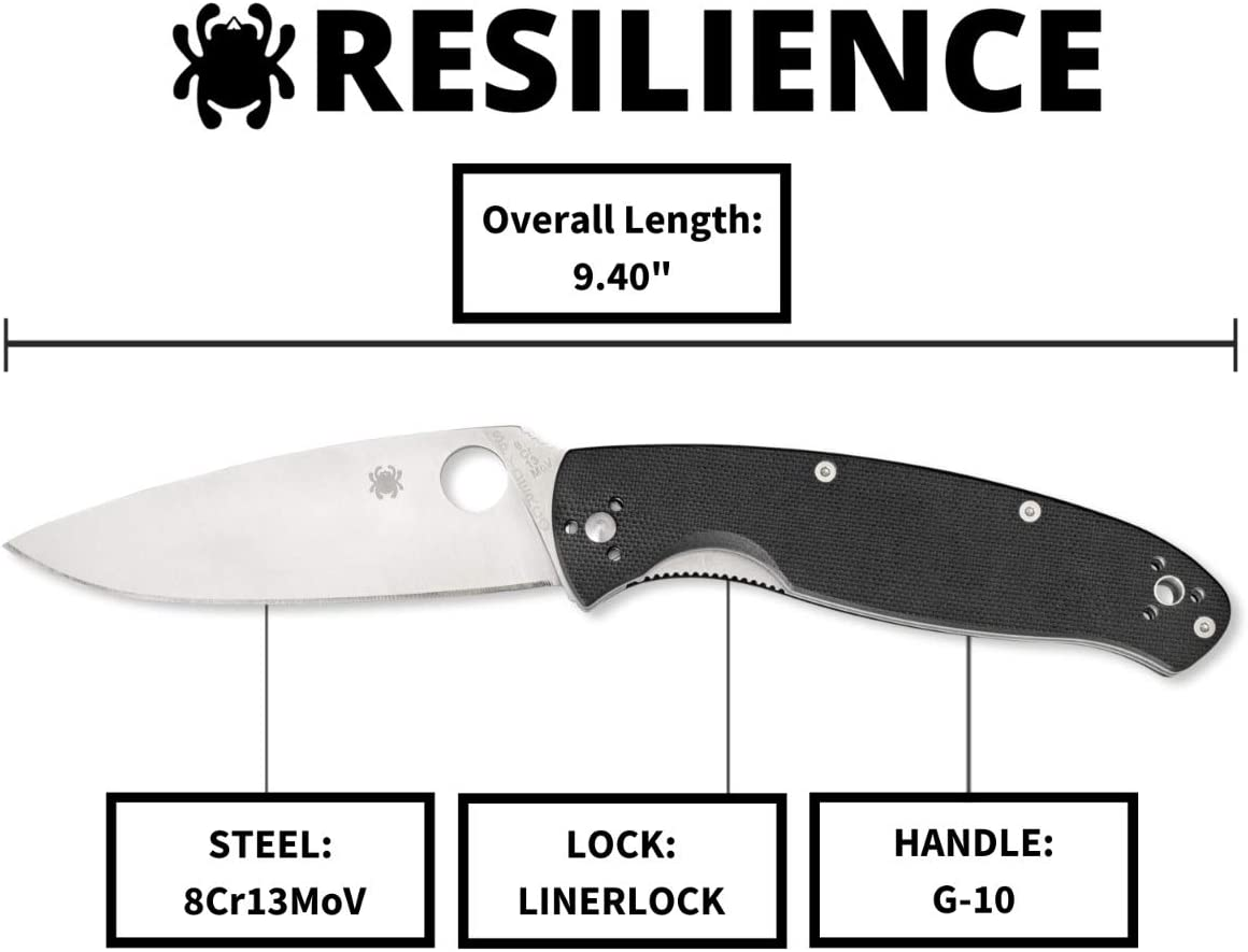 "Spyderco Resilience Value Folding Knife with 4.20"" Stainless Steel Blade and Black Handle"