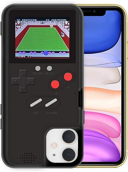 Hamkaw Coque de jeu anti-choc pour iPhone 11 pro max - Motif rétro 3D avec 36 jeux classiques sur écran couleur - Noir, ABS TPU., Noir , IPhone11