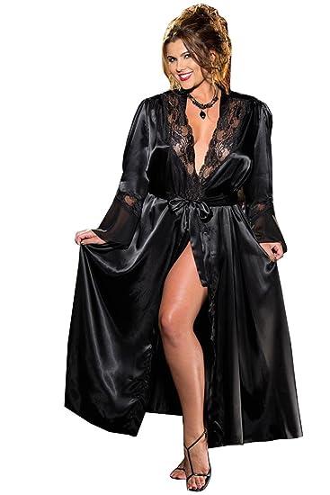 622b1cbb13a0 Amazon.com  Shirley of Hollywood DS-SOH-X20559 Long Robe Charmeuse-Chiffon   Clothing