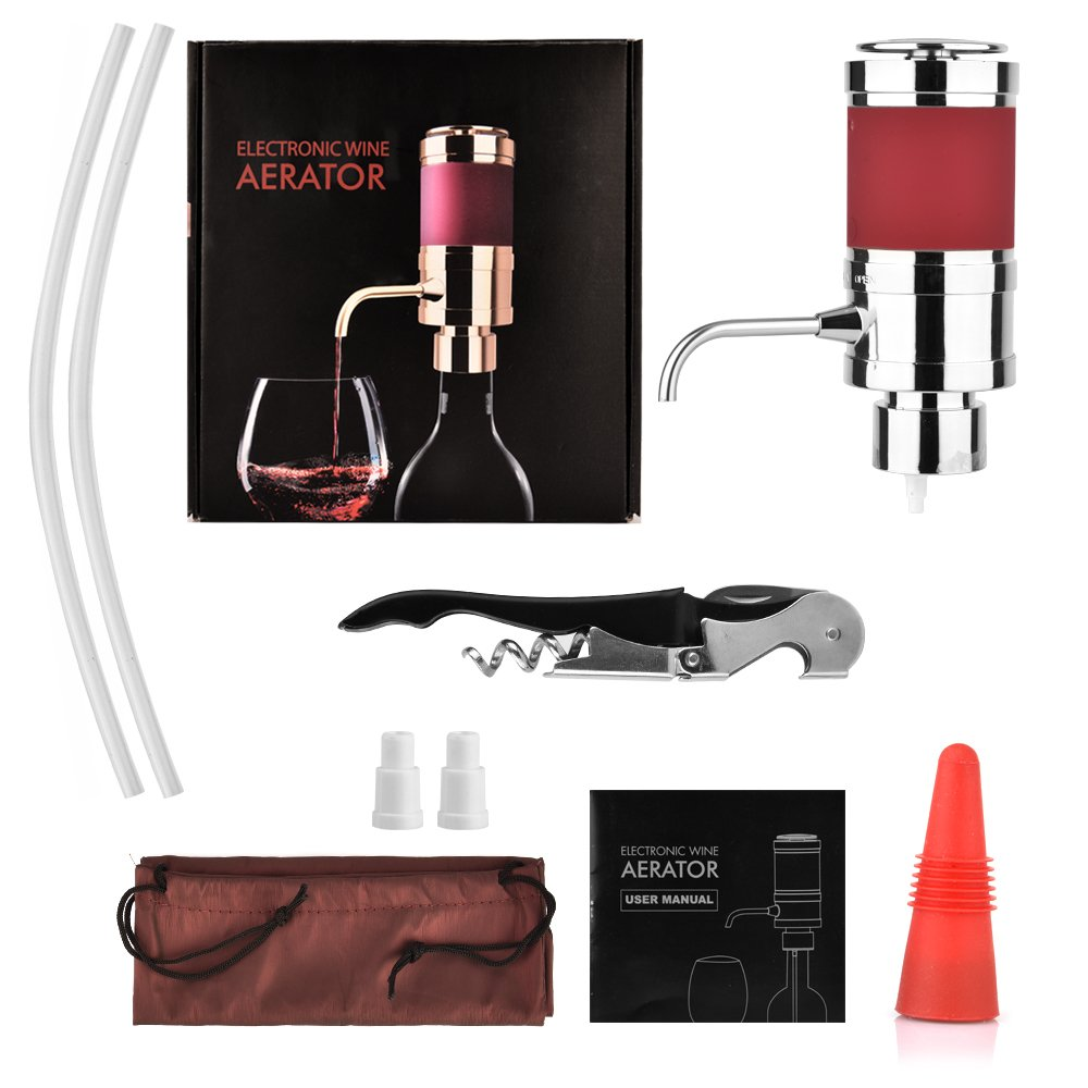 AUSHEN Electric Wine Aerator Dispenser Wine Aerator Pourer Set Creative Air Decanter with Waiters Corkscrew and Wine Stoppers