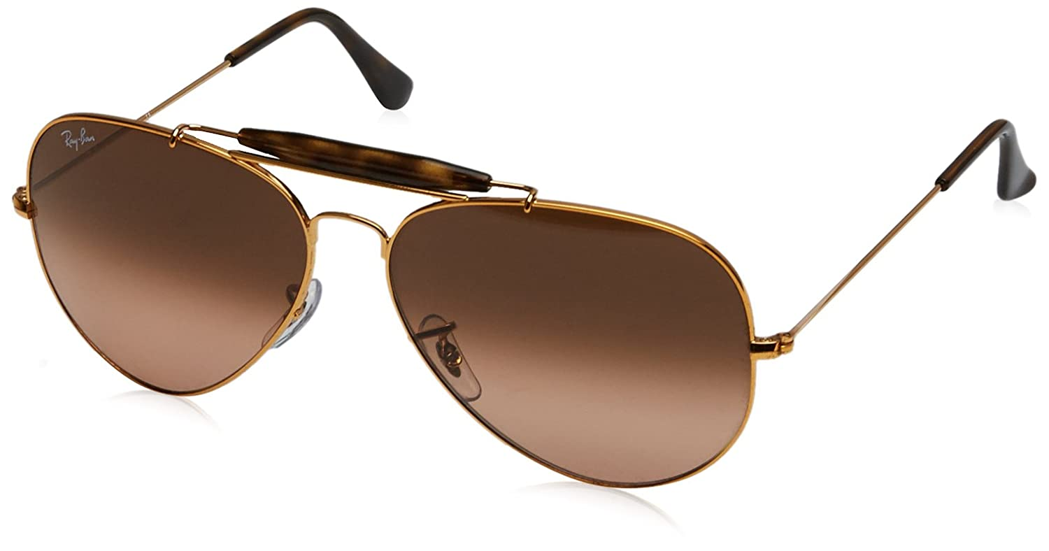 Ray-Ban Unisex RB3029 Outdoorsman II Sunglasses Ray-Ban Men' s Outdoorsman Ii Aviator Sunglasses Shiny Bronze 62 mm 0RB3029 MOD.3029SUN_197/71-62