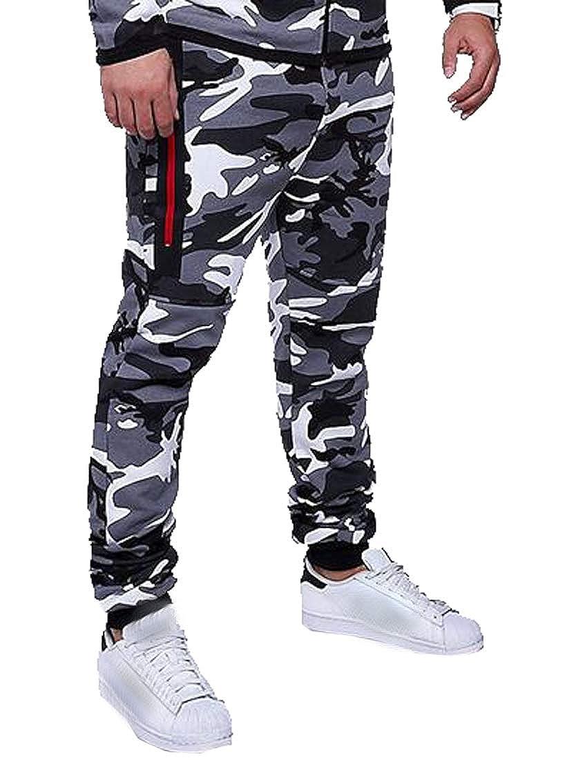 DFBB Men Running Trainning Gym Zip Front Casual Camo Print Jogger Pants Sweatpants Trousers