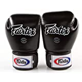Fairtex Muay Thai Style Training Sparring Gloves, Unisex-Adult, Solid Black, 10 oz