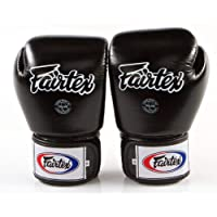 Fairtex Muay Thai Style Training Sparring Gloves, Unisex-Adult, Solid Black, 10 oz