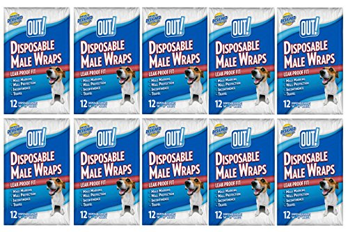 OUT! 12 Count Disposable Male Wraps, Medium - 12 Packs! (Medium) by OUT!