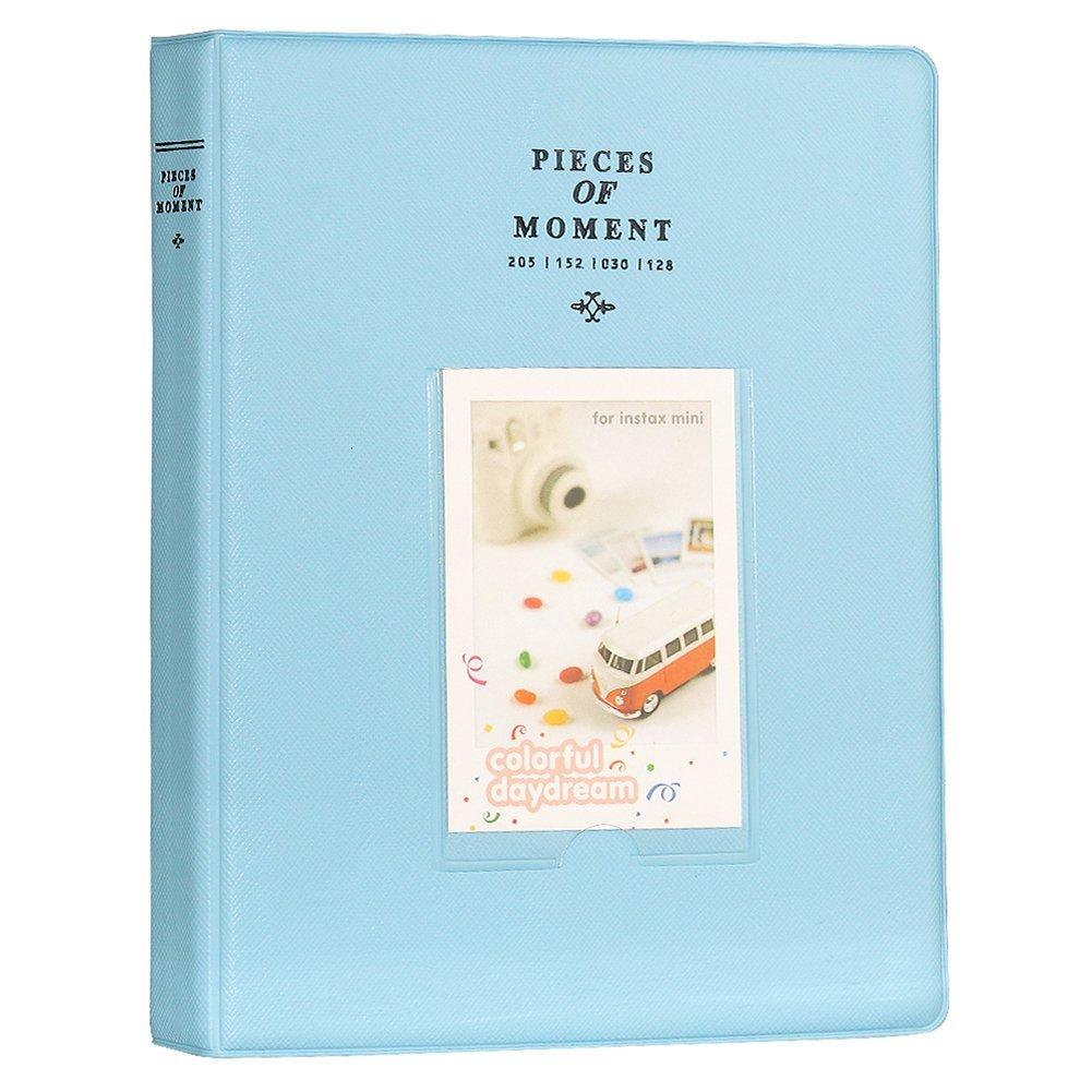 Blummy 128 Pockets 2x3 inch Photo Album Fujifilm Instax Mini 9 8 8+ 70 7s 90 25 26 50s, Pringo P231, Instax SP-1 SP-2, Polaroid Snap, Snap Touch, Z2300 & HP Sprocket Paper Films (Blue)