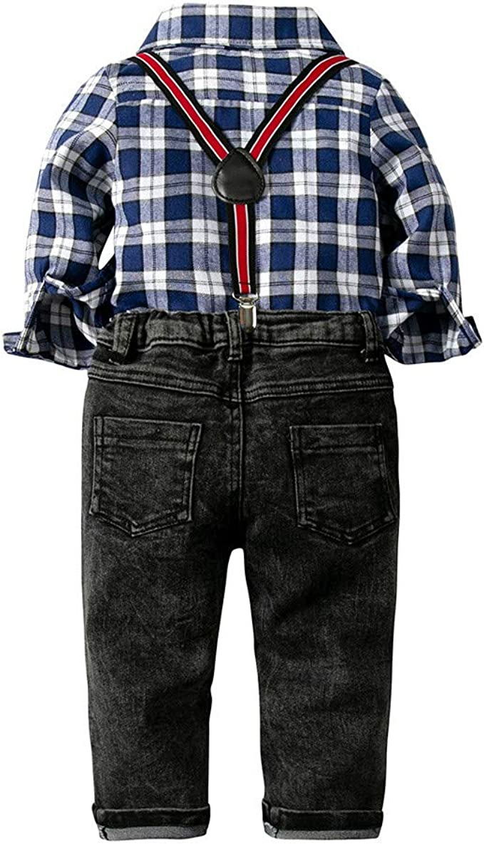 DIGOOD for 1-6 Years Old,Teen Toddler Baby Boys Bow Tie Plaid Shirt+Suspenders Pants,Children 2Pcs Outfits Clothes Sets