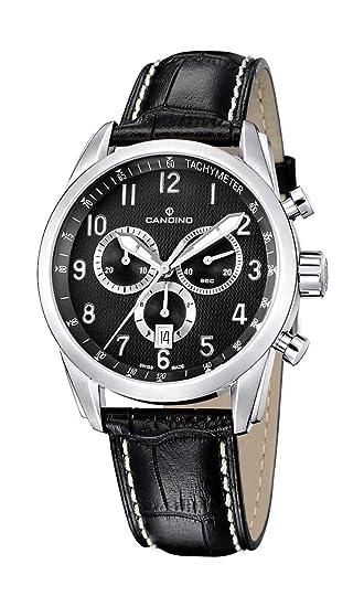 Candino C4408-4 - Reloj analógico de caballero de cuarzo con correa de piel negra: Amazon.es: Relojes