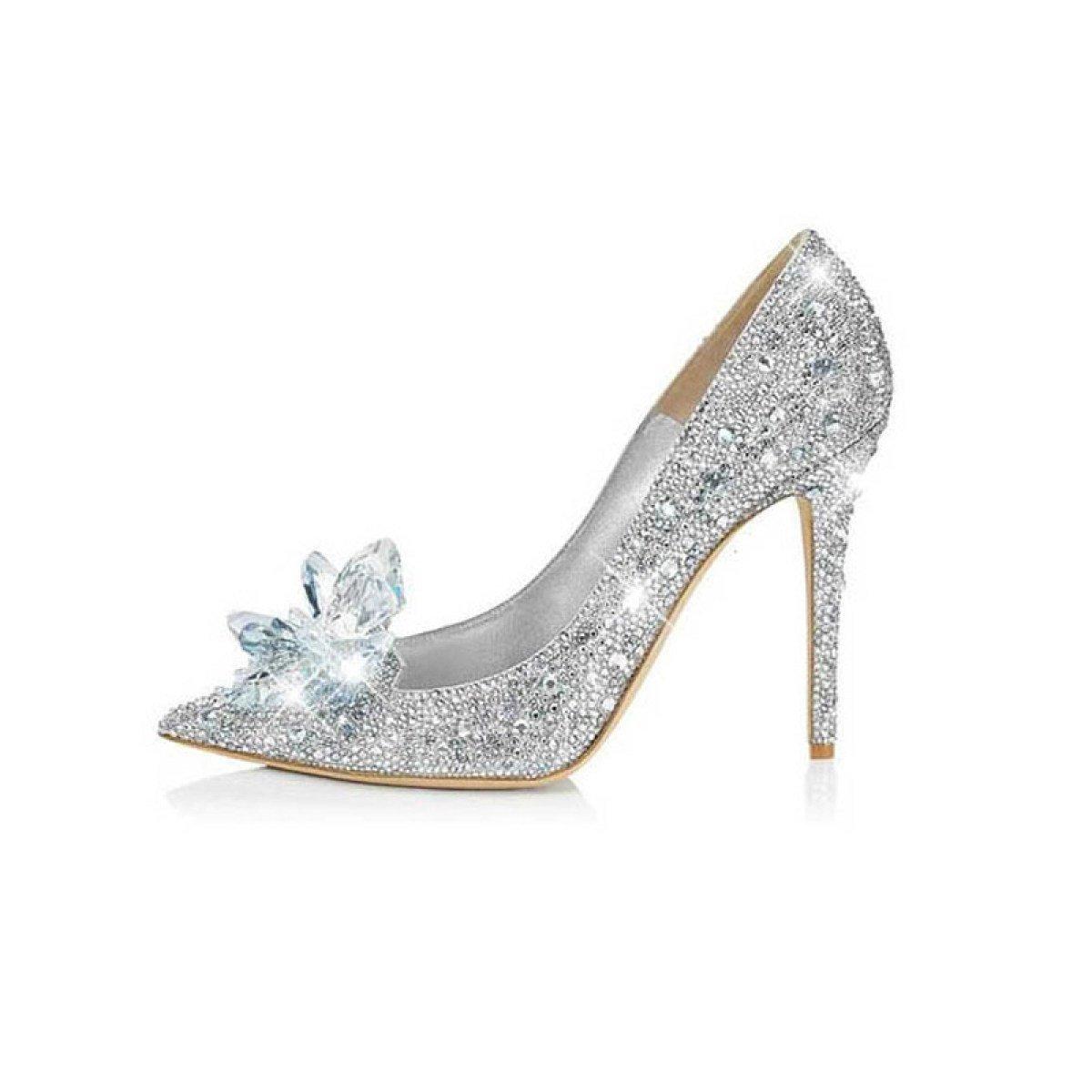 Zapatos De Boda De Las Señoras Rhinestone Tip Tacones Altos Zapatos De Cristal Zapatos De Boda Zapatos De Novia Medio Con Las Damas De Honor Zapatos EU:34/UK:2|Silver(9cm)