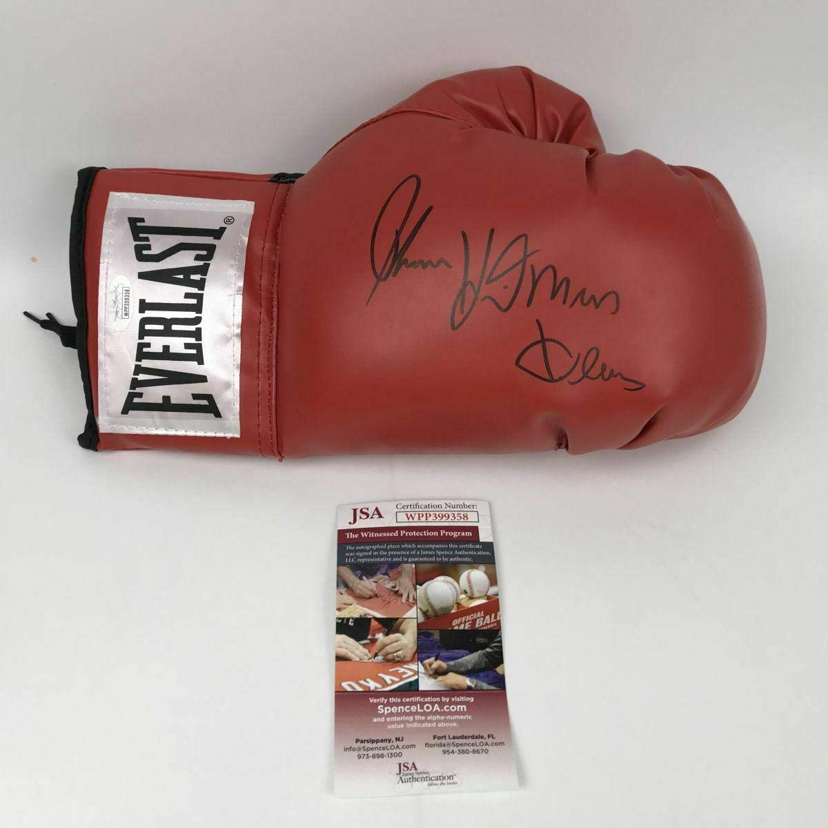 Autographed Signed Thomas Hitman Hearns Red Everlast Boxing Glove Jsa Coa Auto