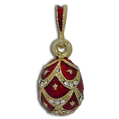 Amazon red pinecone russian royal faberge egg pendant red pinecone russian royal faberge egg pendant necklace 19quot aloadofball Choice Image