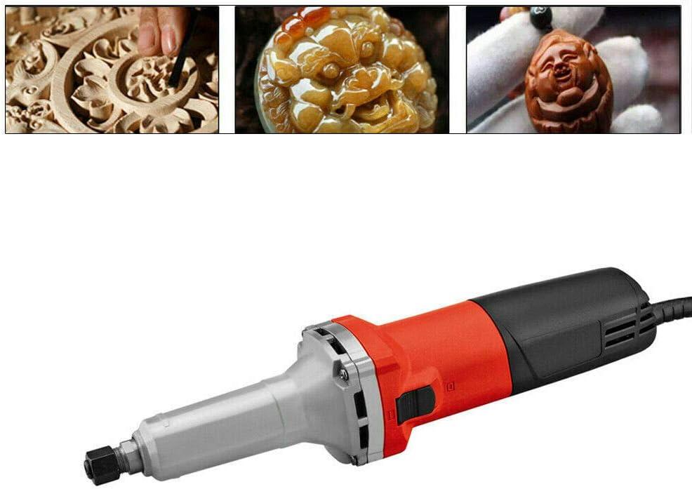 Amoladora recta eléctrica 750 W Rectificadora para amoladora Regulador de velocidad 0-27000 rpm Herramienta de pulido Ø6 mm