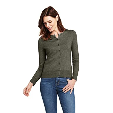 0c540575ffe4 Image Unavailable. Image not available for. Color: Lands' End Women's  Supima Cotton Cardigan Sweater ...