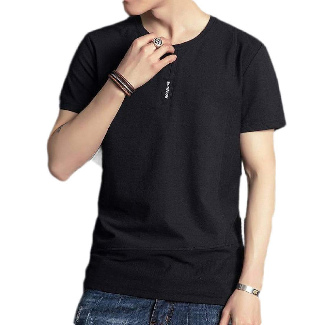BU2H Men Round Neck Slim Fit Solid Short Sleeve Big /& Tall Tee T-Shirts