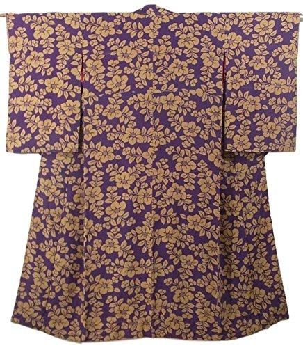 オーバーヘッド優しさ気絶させるアンティーク 着物  椿の花文様 正絹 袷 裄64cm 身丈147cm