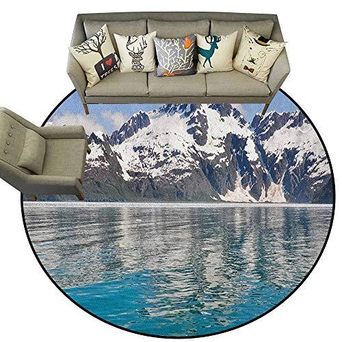 (Round Area Rug Carpet,Alaska,Aialik Bay Kenai Fjords Arctic Landscape Northern American Idyllic, Aqua Sky Blue Forest Green,Shoe Scraper Door Mat Living Room Rug4 feet )