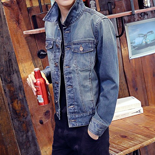 Amazon.com: Denim jacket autumn and winter mens denim jacket Slim denim denim jacket, blue, XXL: Sports & Outdoors