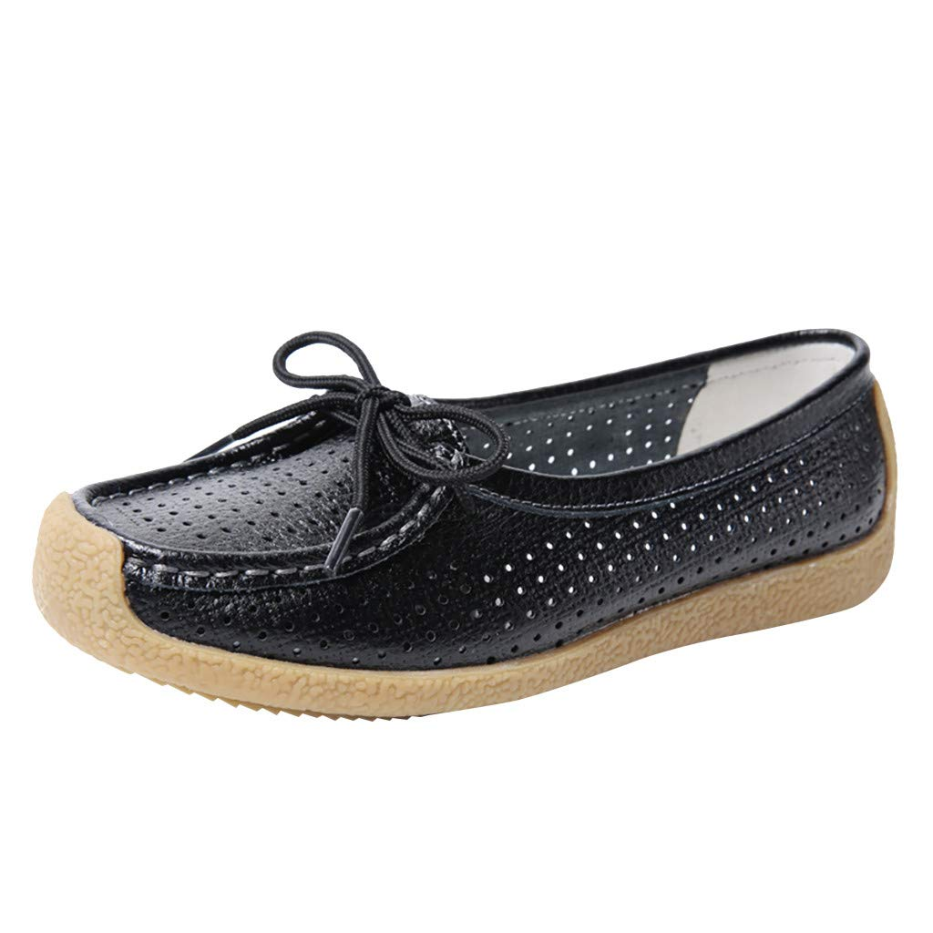 Dermanony Womens Leather Loafers Slip On Flats Casual Round Toe Moccasins Wild Breathable Comfortable Driving Soft Shoes Black by Dermanony _Shoes