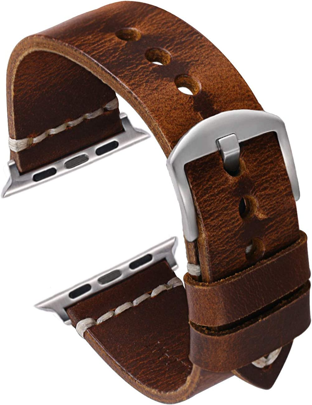 Oil Wax Leather Strap Watchband Compatible with Smart Watch Band 38mm 42mm Series 123, Nike+,Sport,Edition,Dark Brown