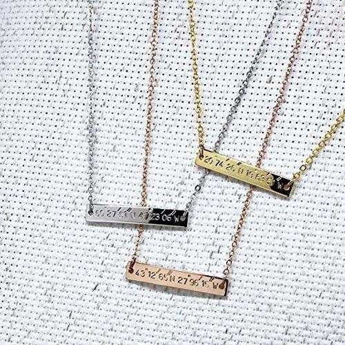 M Pendant Coordinates Necklace Engraved Personalized Graduation product image