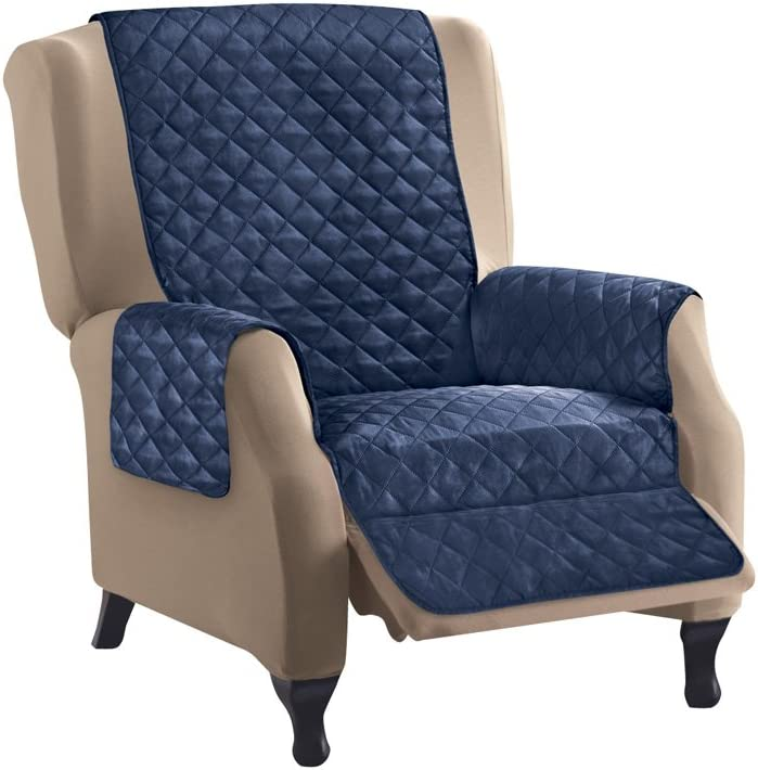 Collections Etc Reversible Quilted Furniture Protector Cover, Navy/Silver, Recliner