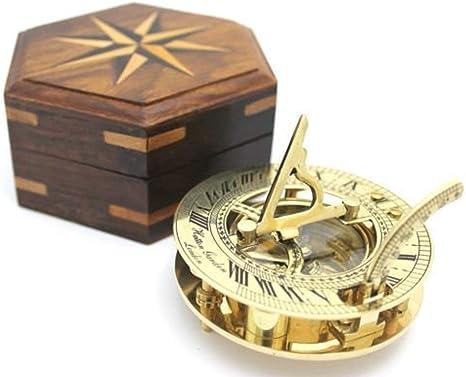 Reloj solar y brújula (latón pulido, caja de madera incluida ...