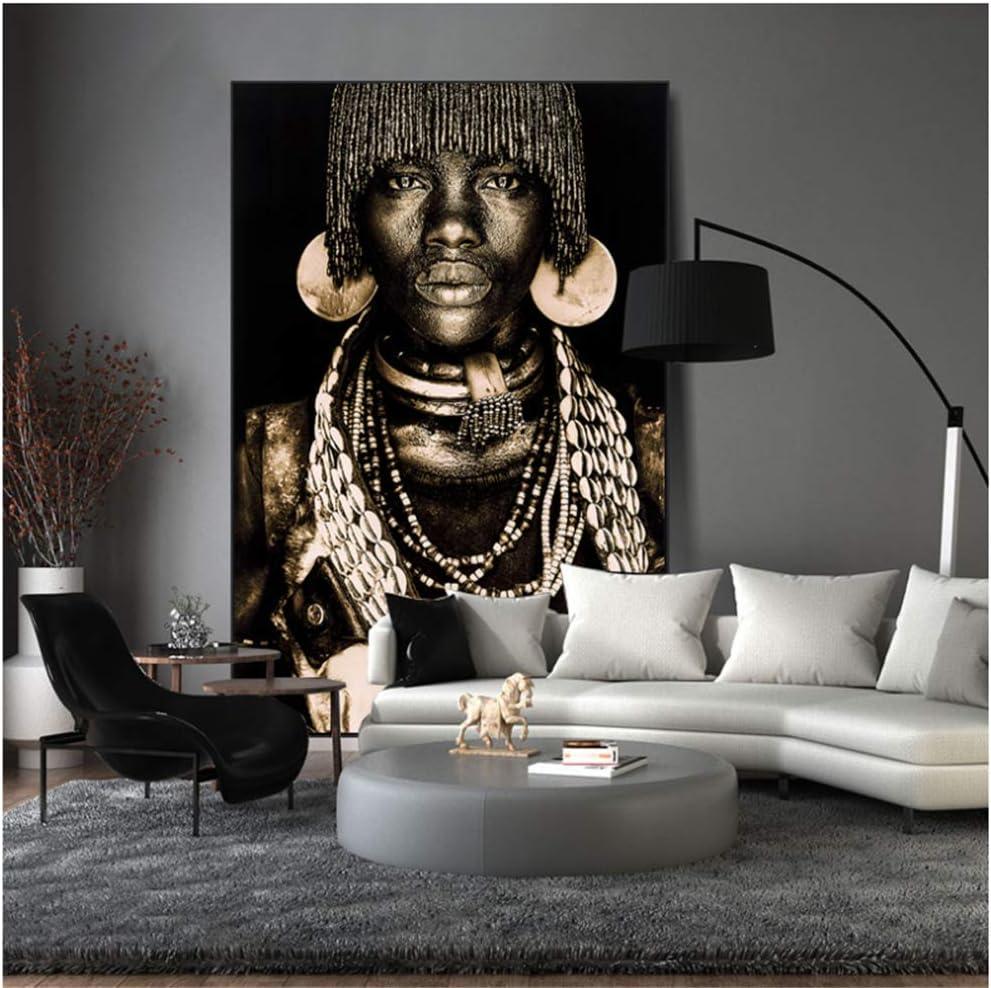 50x80cm Sin marco Nordic Poster Vintage Wall Art African Women Prints Wall Art Canvas Painting Wall Pictures para la sala de estar