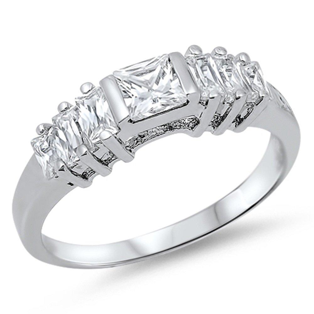 CloseoutWarehouse Princess Cut Center Cubic Zirconia Ring Sterling Silver 925