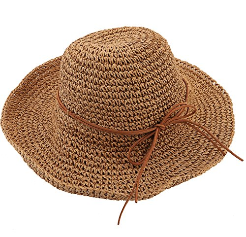 Urban CoCo Women's Wide Brim Caps Foldable Summer Beach Sun Straw Hats (Light Coffee)]()