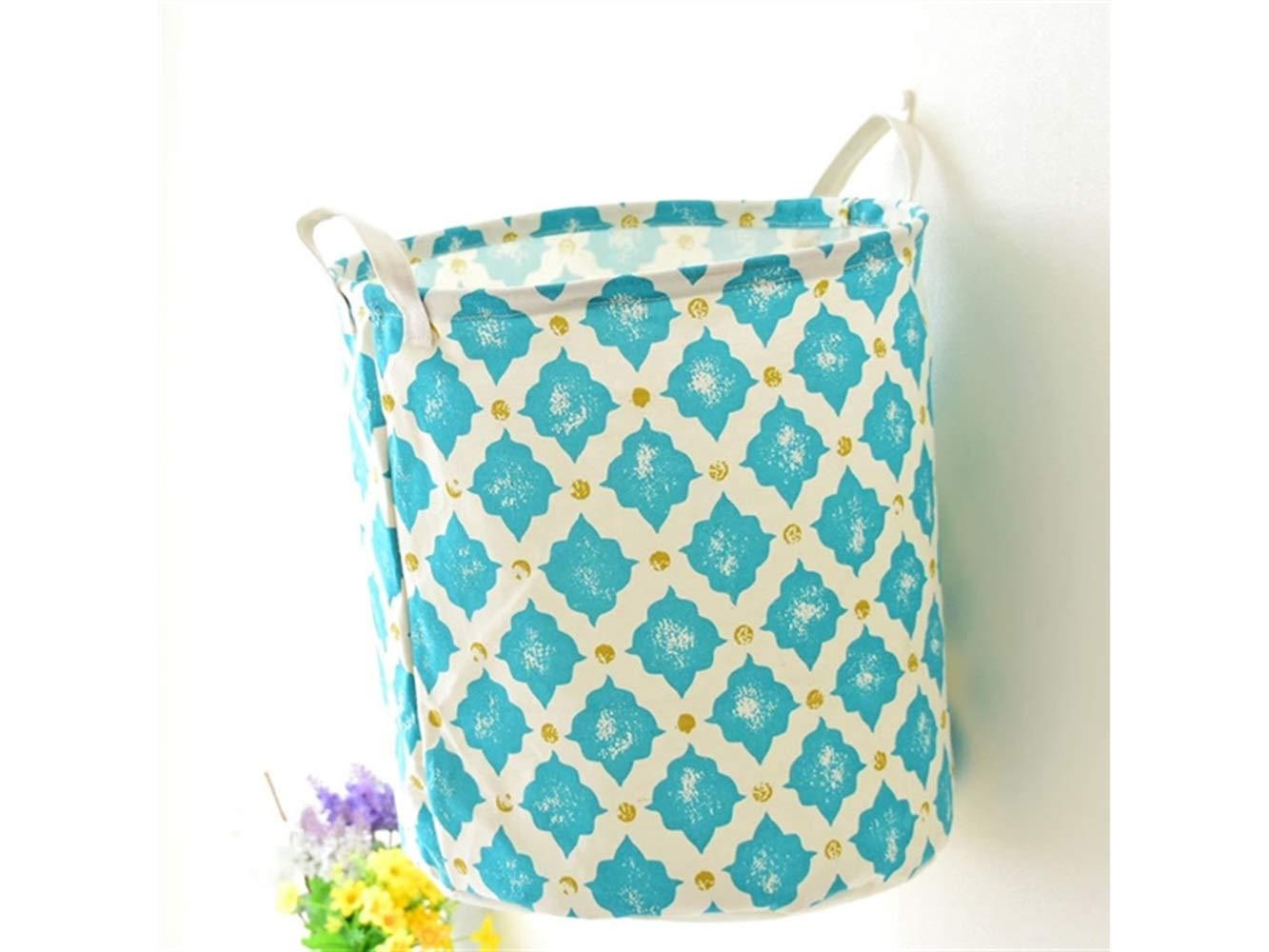 Storage Box Printing Pattern Storage Bag Storage Bucket Sundries Storage Bucket(Blue+White)