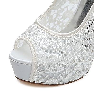 Expuesta Mujer Vestidos Zapatos Encaje Novia Duoai Tacones De zq84wzda