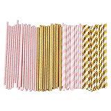 ALINK Biodegradable Paper Straws, 100 Pink