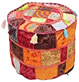 "BIG SALE - Southwest Ottomans Moroccan Foot Stool Pouf 18.5 x 14"" Bohemian Cover Multicolor Handmade in 100% Cotton Fabric Patchwork - Living Room Decor"
