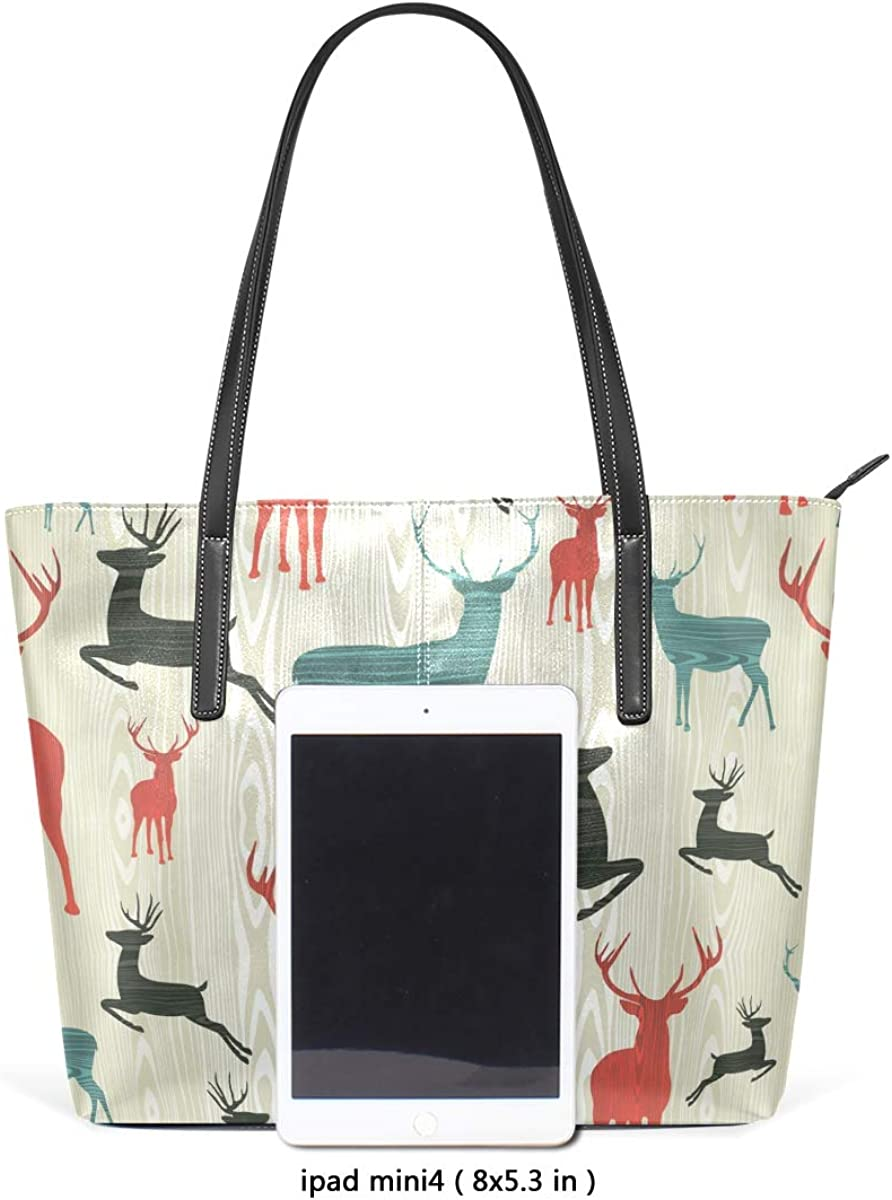 FANTAZIO Handbag Shoulder Jumping Deers Pattern Shoulder Handbag