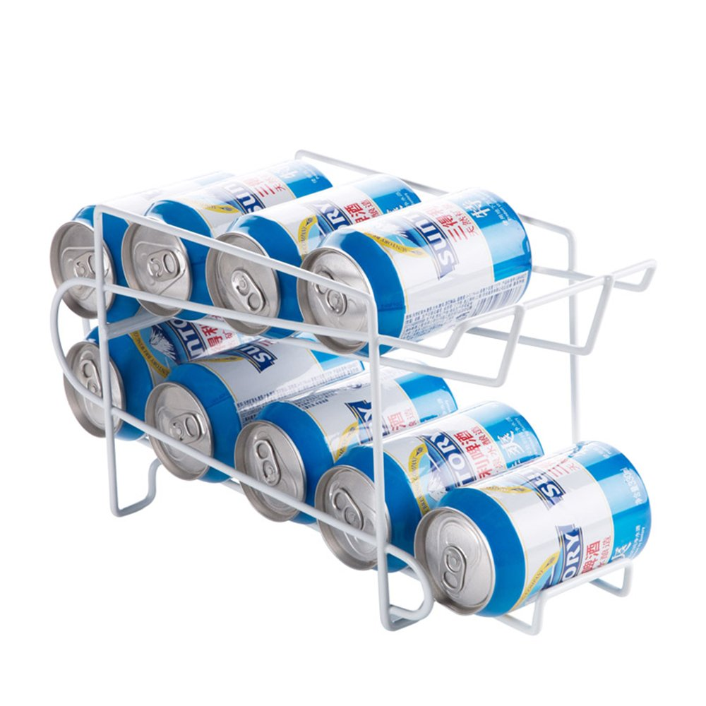 Mural Art Space Saving Soda Beer Can Beverage Dispenser Organizer Rack Double Layers Sturdy Iron Shelf Rack for Refrigerator and Table Top