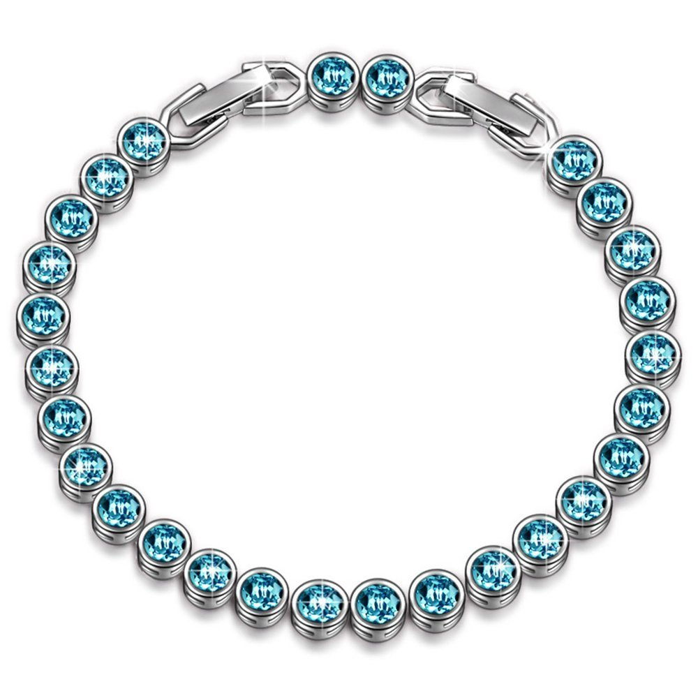 LADY COLOUR SALE Bracelet 30% Off Gifts for Women Aquamarine Blue Tennis Bracelet Swarovski Crystals Jewelry for Women Birthday Gifts for Her for Wife Gift for Teen Girls Wedding