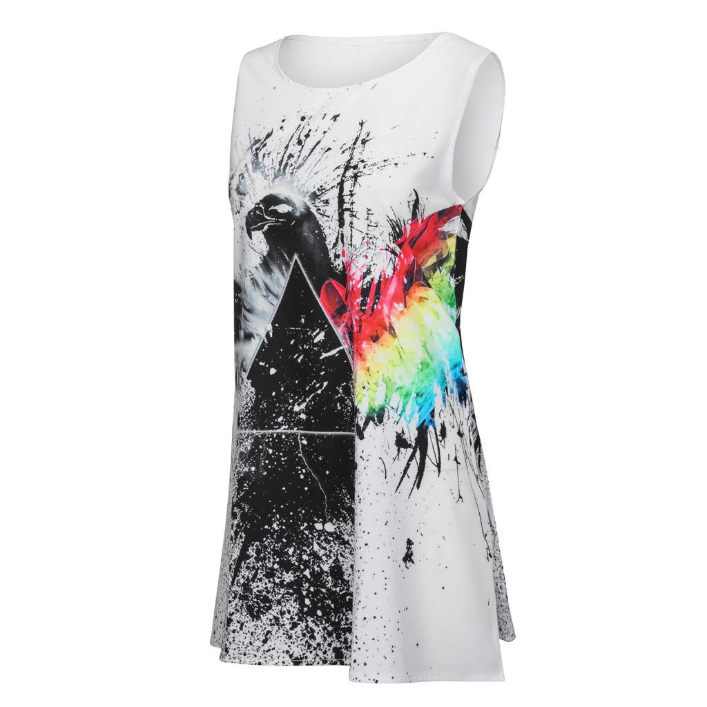TIFENNY Summer Women Loose Shirt Dresses Vintage 3D Floral Print Sleeveless Round Neck Bohe Tank Short Mini Dresses