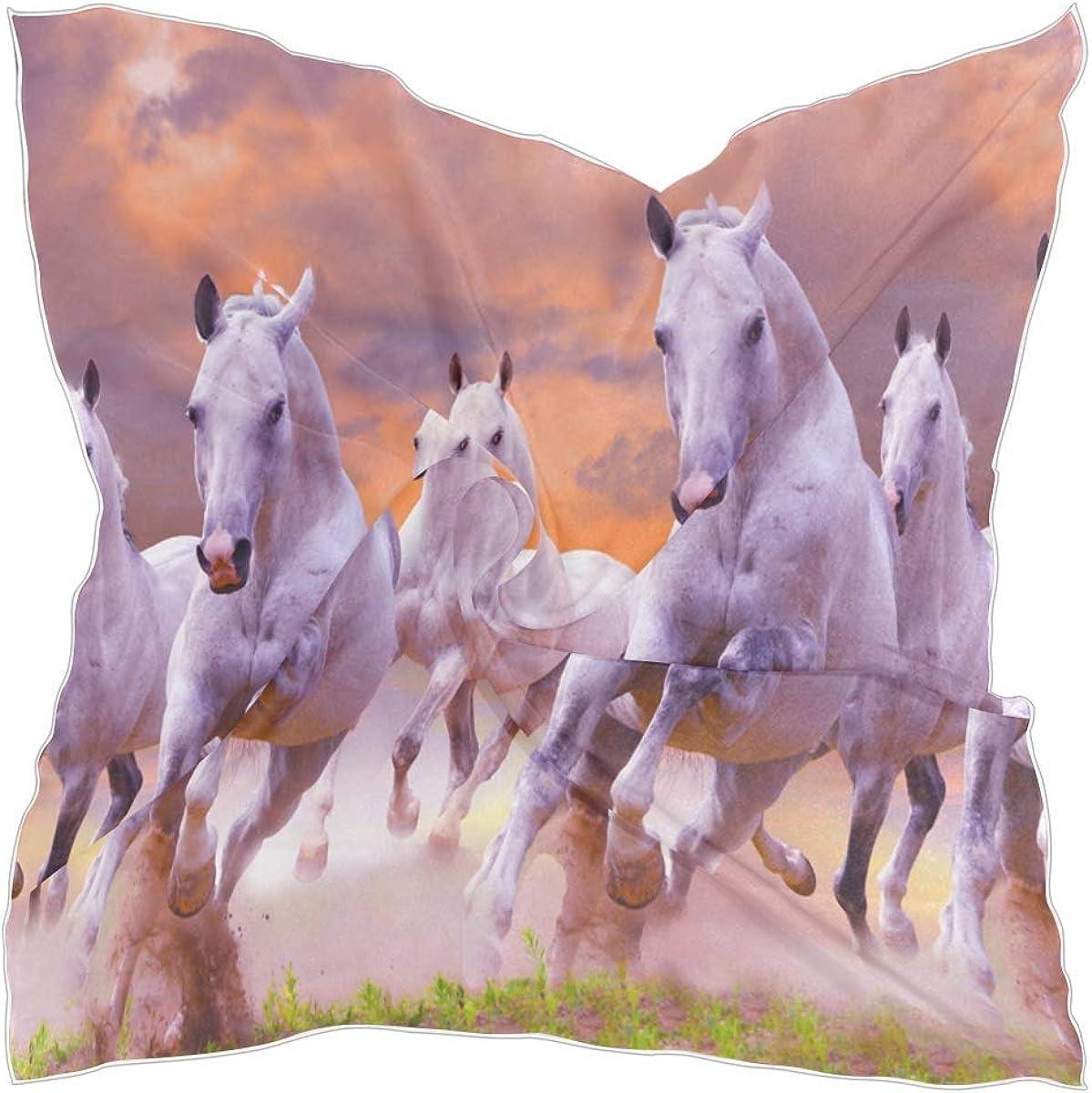 Hotyle Bufanda cuadrada Patrón de caballo Moda Bufanda de cuello de satén Bufandas de pelo Pañuelo para mujer