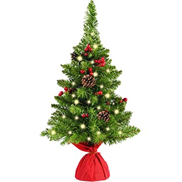 chichic 24 inch mini christmas tree tabletop christmas tree small artificial christmas tree pine tree decor