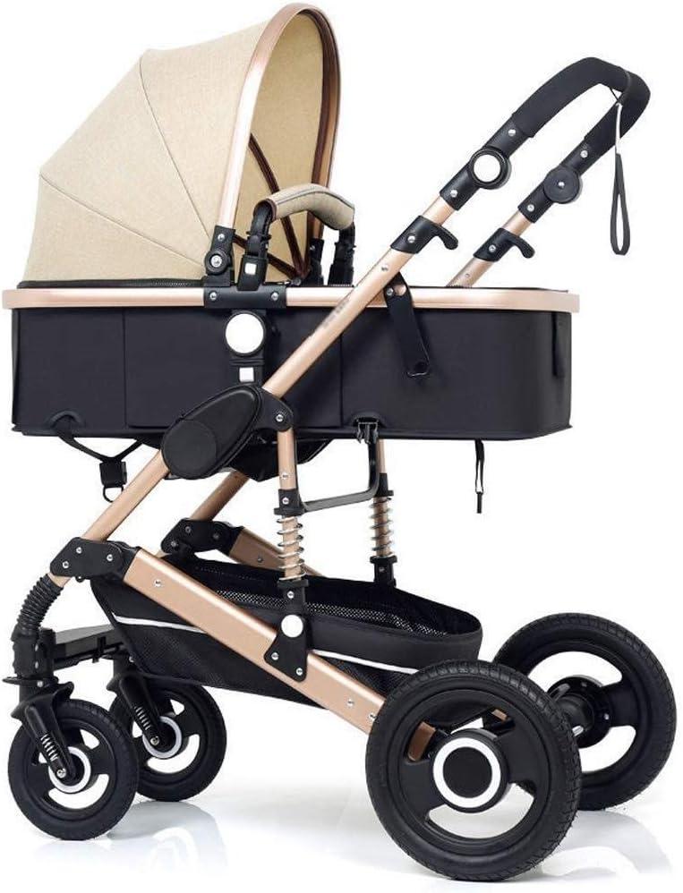 ベビーカー、エクストララージストレージ厚み付け、1ベビーカーバギー双方向の赤ちゃんベビーカー折り畳み式で高い景観プラムトラベルシステム3 (Color : Brown, Size : 34.25*24.01*42.91inch)