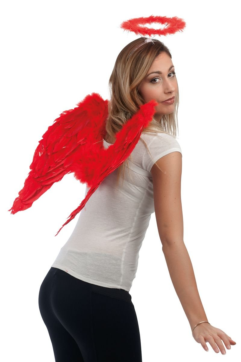 Unbekannt P 'tit Clown 80163 Engelsflü gel aus Federn –  50 x 50 cm –  rot P' TIT CLOWN