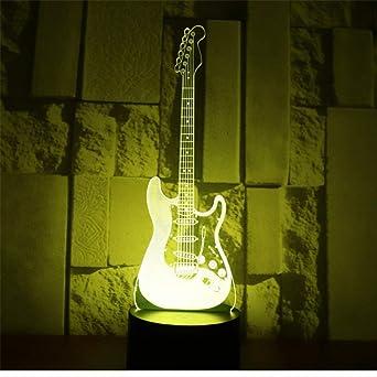 3D Lámpara Óptico Illusions Guitarra Electrica Niños Decoración ...