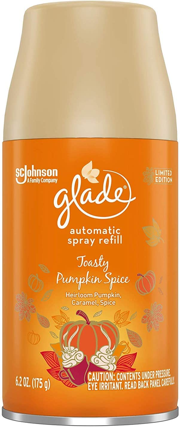 Glade Automatic Spray Air Freshener Refill | Toasty Pumpkin Spice Scent | Limited Edition - 6.2 Ounce Each (Pack of 3)