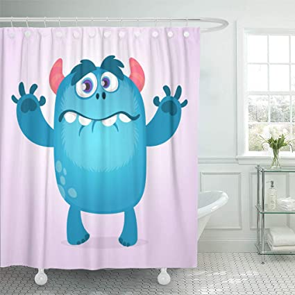Ashleyallen Shower Curtains Colorful Cute Furry Blue Monster Bigfoot Troll Character Mascot Design For Children Book