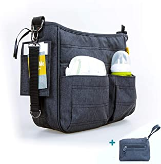 Pram Organiser, Buggy Baby Changing Bag Universal Stroller Organiser with Baby Changing Mat and Extra Baby Bag/Stroller Bag with Puschair Travel Bag and Baby Bottle Thermos (Black Bag)