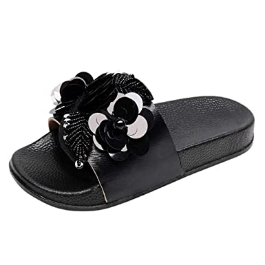 TIFENNY Fashion Flower Slippers for Womens Flat Slides Sandals Diamante Sparkly Sliders Sequin Flower Shoes Black