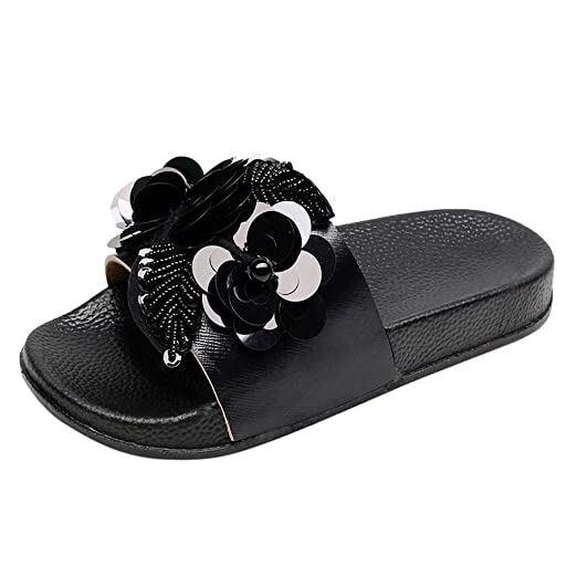 Amazon.com: Women Sandals Shoes - Summer Beaded Sparkly Sliders Sequin Flower Beach Flat Slippers Shoes: Clothing