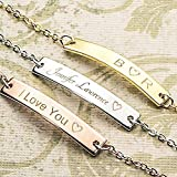 A Absolute rate your name bar Bracelet - Dainty Hand stamped Engraving Personalized Plate Bracelet bridesmaid Wedding Graduation Birthday Christmas Mothers day Gift SAME DAY SHIPPING GIFT TIL 2PM CDT