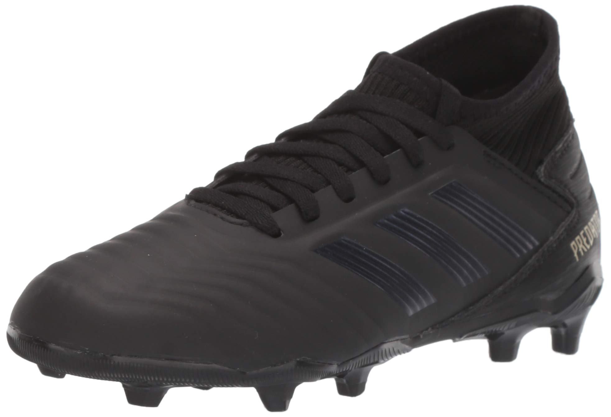 adidas Unisex Predator 19.3 Firm Ground Soccer Shoe, Black/Gold Metallic, 13K M US Little Kid